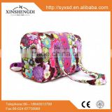 Wholesale beautiful large travel textile printing 100% cotton quilted ladies toiletry bag
