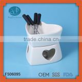 heart shaped fondue set with 4 forks,cheese tool type fondue set,china manufacturing ceramic cheese fondue set