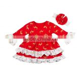 High quality baby wear cotton blouse hot sale children christmas ruffle top baby fall clothes