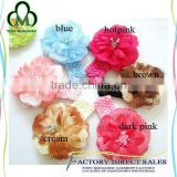 Pure Color Braid Elastic Headband Baby Girls Flower Shape Hairband Newborn Infant Shiny Beads Hair Accessories