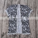 Dark AZTEC Print Kimono Pompom Ball Baby Boy Shirts Designs fancy newborn baby clothes kids beautiful model dresses