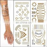 Wholesale Newest Design Tattoo Sticker Metallic Sexy Ladies Makeup& Henna Small Order Cheap Tattoo Stickers Paper Gold Silver