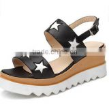 2016 new design comfortable ladies female woman high heel platform genuine cow leather sandals with stars decoration