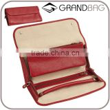 real pebbled leather ladies jewelry roll travel jewelry organizer bag wholesale