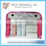 Plastic Snap Button Closure Polyester + Clear PVC Cosmetic Bag