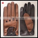 brown back black palm men wearing fashion new style driving leather glove                                                                         Quality Choice