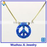 High Quality Synthetic OP05 Peace Sign Opal Pendant With 925 Sterling Silver18K Plated Chain Necklace