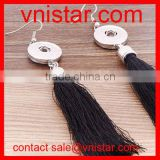 Vnistar metal snap button earrings with black tassels dangle interchangeable wholesale NE011-2