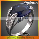 PRIMERO Custom Retro stainless steel jewelry blue oval Austrian crystal ring Elegant exquisite luxury hollow ring gemstone rings