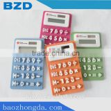 Promotion Gift Mini Silicone Porket Calculator Solar Cell Calculator / Logo Customized OEM Electronic Manufacturer
