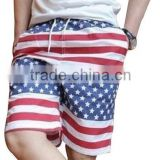 2015 Fashion American summer loose flag shorts pants casual sport running shorts swimming beach shorts