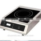 High duty 3500W double induction cooker price commercial induction cooktops with 304 stainless steel