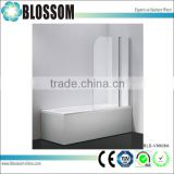 Popular Hangzhou bathroom portable frameless pivot temper glass shower fold bath screen,bath tub screen                                                                         Quality Choice