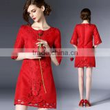 Red Jacquard and Embroidered Women Rock Neck 3/4 Sleeve Floral Lace Cocktail Clubwear Evening Dress