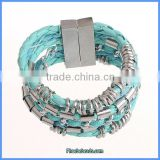 Wholesale Hot Sale High Quality Famous Brand Magnetic Clasp Woven Leather Bracelet FHB-001E