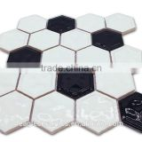New design handmake hexagon shaped ceramic glazed glossy kitchen tile sheet mosaic made in China