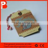 2015 kraft card folded with cotton string, Gold hot stamping,garment paper tag,jewelry hang