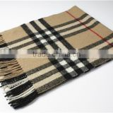 Classic Checked Cashmere Scarf With Fringe