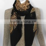Women Black Printed Wool Square Scarf
