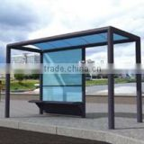 Stainless Steel & Aluminum Outdoor Bus Stop Shelter Design with Tempered Glass for City Street Construction