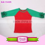 Wholesale Boutique Cheap Red And Green 3/4 Ruffle Sleeve Shirt Toddler Girls Christmas Icing Ruffle Raglan