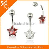 surgical steel star belly bars belly button rings with zircon