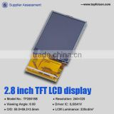 Factory supply small size 2.8 inch TFT LCD 240*320 touch panel 6 o'clock lcd display screen