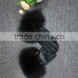 Classic black soft lambskin gloves raccoon fur trim women winter short leather gloves