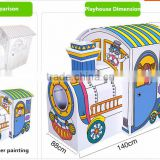 POP OEM CUSTOM Car Cardboard play house Corrugated paper play toy for kids indoor furniture