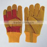 Golden cow hide fur lined thermal winter glove