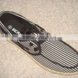 2012 new men moccasin plimsolls with hemp rope foxing strip