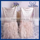 CH017A Expensive Luxury wedding chiavari champagne sequin and Ostrich feather chair covers