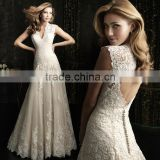 2016 summer new deep v-neck sexy backless trailing gown fashion lace wedding dress DH-336