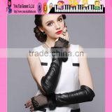 Black Leather Women Fingerless Gloves Fur Lace Women Fingerless Gloves