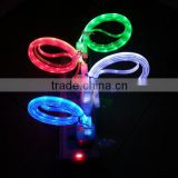 smile face led light retractable usb data line,v8 braided micro usb data cable for samsung