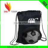 2016 Eco Friendly Customized Logo Branded Promotional Cheap 210T Nylon Drawstring Sport Bag With Ball Holder