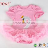 Summer New Baby Girl High Quality Cotton White Swan Design Dress Infant Princess Single Tulle Lace Dress