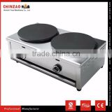 Snack Food Equipment Double Head Gas Crepe Maker Machine Non-Stick