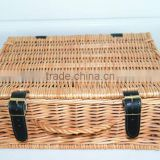 Empty wicker hamper / empty willow picnic basket with leather and willow handle