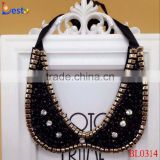 New popular modern ladies black with gold bead neck collar necklace
