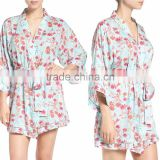 Satin Floral Robes Women Fashion Long Sleeve Floral Print Robes for Ladies Pajamas Sleepwear Wholesale Bridesmaid Robes