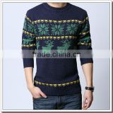 Men's 100% cashmere intarsia Christmas jumper winter sweater