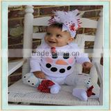 2017 baby girl romper white long sleeve snowman appilque style boutique christmas clothes