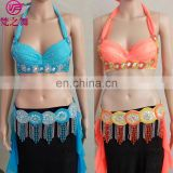GT-1069 New style sexy beaded professional belly dance costumes bra and belt set