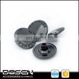 Gun Metal Black Shiny Dome Custom Engrave Logo Metal Snap Button Snap Fastener Studs Button for Jacket Coat Shirt 15mm