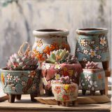 Korean garden pot flower decor hand-painted ceramic flower pots