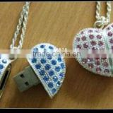 promotional wedding gift heart Jewelry usb drive, Fashionable heart shape Jewelry pendrive1gb to 64gb, wholesale price usb stick
