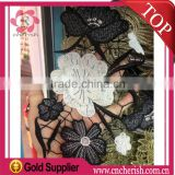 Dubai fashion organza lace trim black white flower lace for ladies dress decorations                                                                         Quality Choice