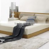 Wholesale Bedroom Furniture Bed Leather with High Headboard , Home Bedrooom Furniture Set , King Size Leather Bed