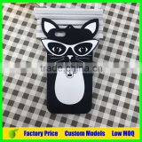 Lovely cat with glasses 3d silicone mobile phone case cover for LG G2 D802 cell phone back cover case